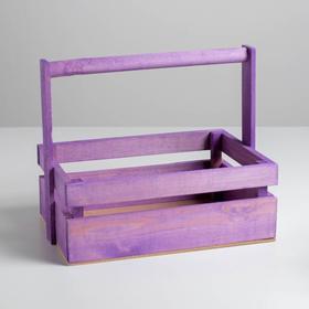 Ящик из массива сосны с ручкой 30 × 21 × 12 см, сиреневый