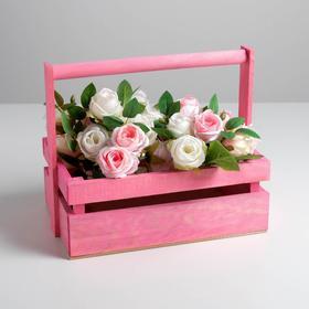 Ящик из массива сосны с ручкой 30 × 21 × 12 см, розовый