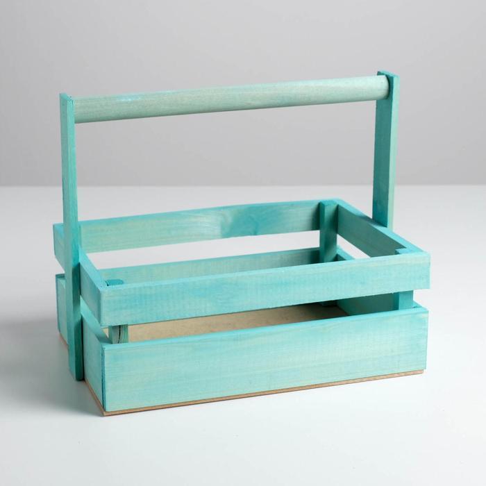 Ящик из массива сосны с ручкой 30 × 21 × 12 см, бирюзовый - фото 702207