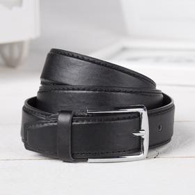 Ремень, гладкий, пряжка металл, ширина - 3 см, цвет чёрный