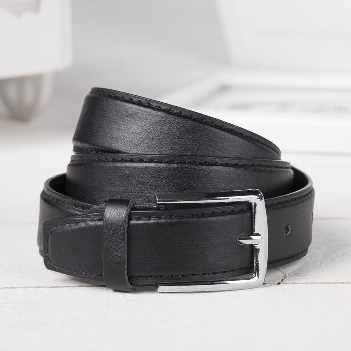 Ремень детский, гладкий, пряжка металл, ширина - 3 см, цвет чёрный - фото 105569556