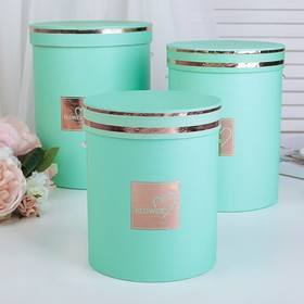 3in1 set boxes, Teal, 18.5 x 18.5 x 24 - 14.5 x 14.5 x 17.5 cm