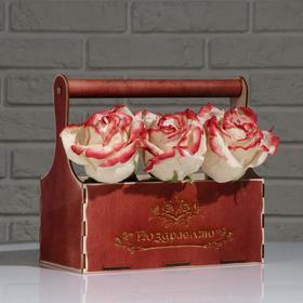 """Кашпо деревянное Мэлони Дэмур """"Поздравляю, цветы"""", с ручкой, красное дерево Дарим Красиво - фото 1101762"""