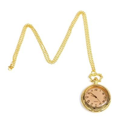 """Часы карманные """"Классика"""", кварцевые, на цепочке, крышка прозрачная, золотые, d=4.5 см"""