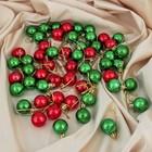 """Набор шаров пластик d-3 см 56 шт """"Треугольник"""" красно зеленый"""