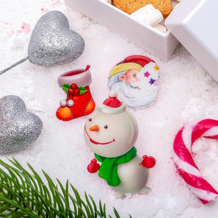 """Набор значков """"Новогодняя сказка"""" снеговик смешной, форма МИКС, цветной"""