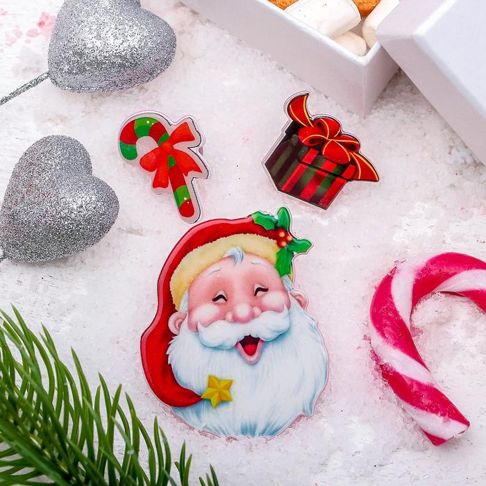 """Набор значков """"Новогодняя сказка"""" Дед мороз добрый, форма МИКС, цветной"""