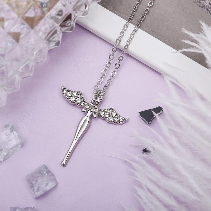 """Кулон """"Ангел"""", цвет белый в серебре, 40 см"""
