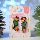 """Пусеты 3 пары """"Новогоднее ассорти"""" олень, ёлка, колокольчик, цветные"""