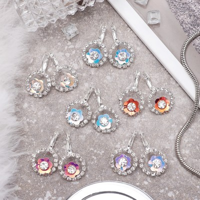 """Earrings with rhinestones """"Flowers"""" summer in the circle, MIX color"""