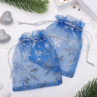 "A bag Christmas ""Snowflakes"" WF-601, 10*12cm, color: blue with silver"