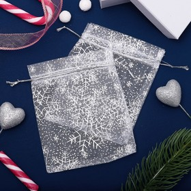 """A bag Christmas """"Snowflakes"""" WF-606, 10*12cm, color white with silver"""