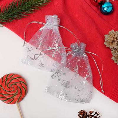 """Мешочек новогодний """"Снежинки серебристые"""" WF-607, 10*12см, цвет тёмно-серый"""
