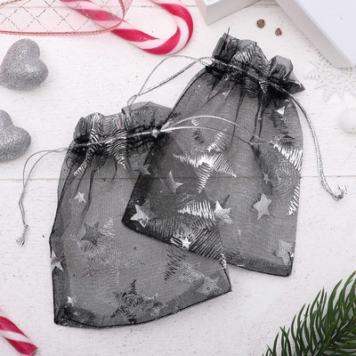 """Pouch gift """"Stars"""" WH-835, 10*12cm, color black with silver"""