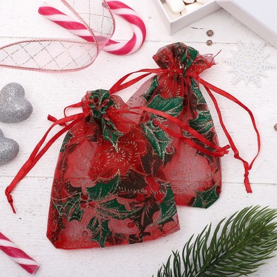 "A bag Christmas ""Holly"", 10*12cm, color red-green"