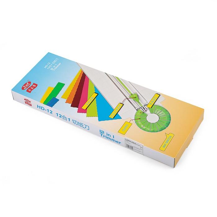 Роликовый резак для бумаги, А4, до 3 листов, безопасное лезвие, широкоформатный, 12 насадок - фото 438353581