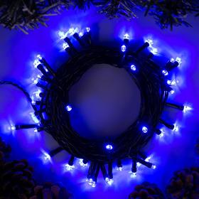 """Гирлянда """"Нить"""" 5 м , IP20, тёмная нить, 50 LED, свечение синее, 8 режимов, 220 В"""
