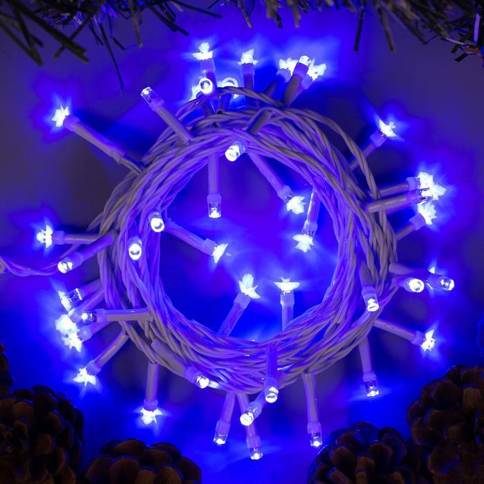 """Гирлянда """"Нить"""", 5 м, LED-50-220V, 8 режимов, нить белая, свечение синее"""