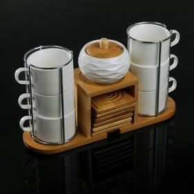 Набор чайный «Эстет», 13 предметов: 6 чашек 150 мл, 6 подставок, сахарница 200 мл, на деревянной подставке
