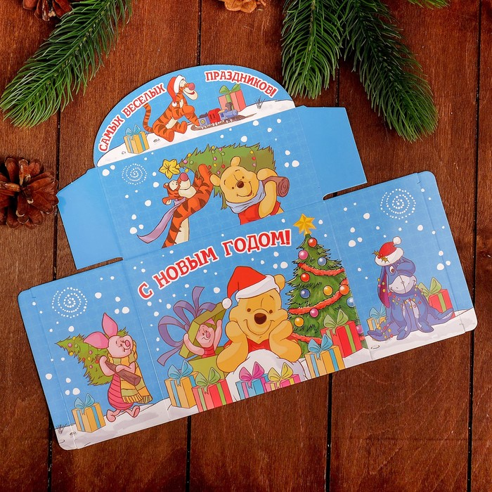 """Коробка подарочная """"С Новым годом"""", Медвежонок Винни, 15 х 12 х 7 см"""