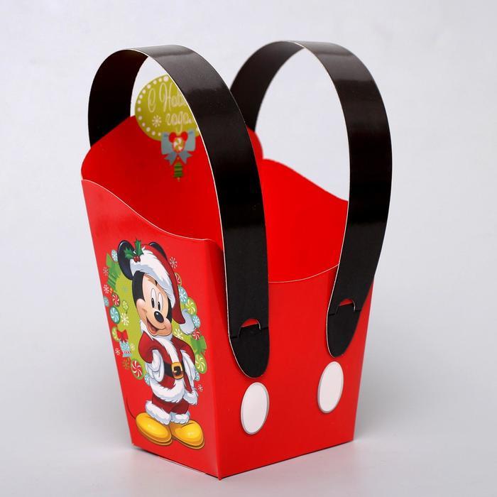 """Коробка подарочная """"С Новым годом"""", Микки Маус и его друзья, 11,5 х 11 х 9 см"""