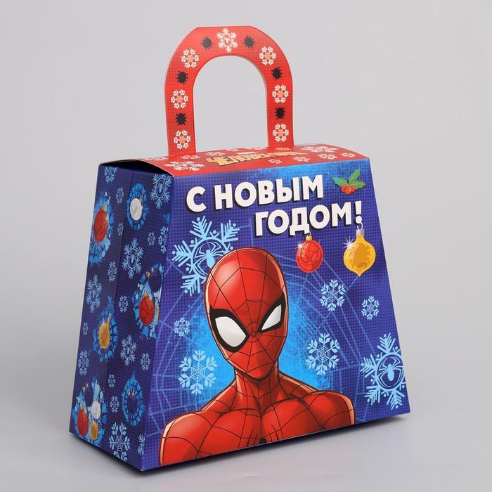 """Коробка складная """"С Новым годом"""", Человек-паук, 20 х 17 х 10 см"""