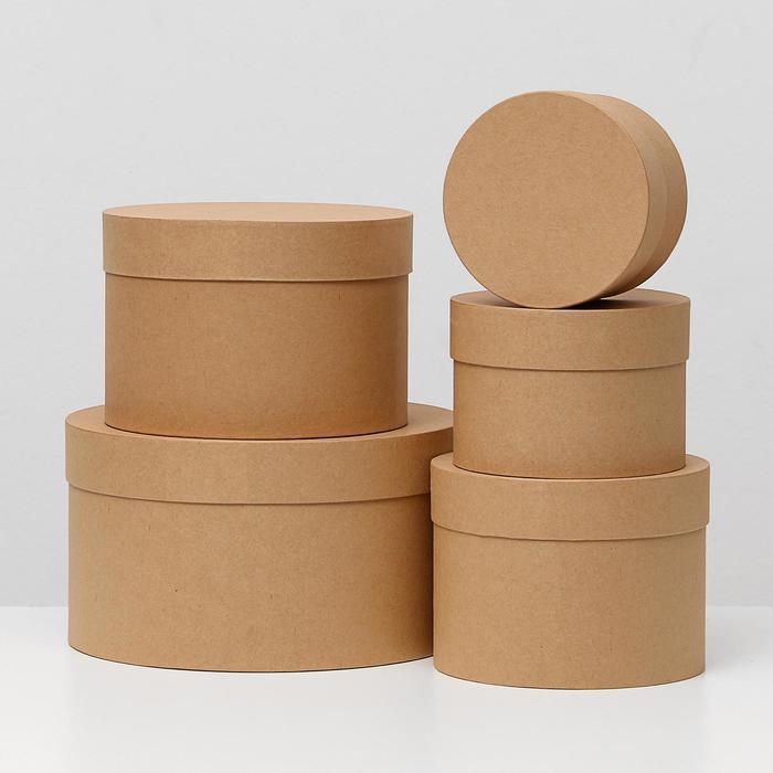 """Набор круглых коробок 5в1 """"Бежевый холст"""", 30 х 30 х 17 - 15 х 15 х 10 см"""