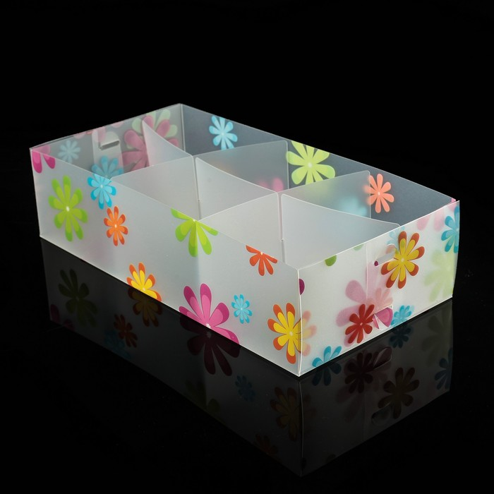 "Короб для хранения 6 ячеек без крышки 30,5х16х8 см ""Цветы"" цвет белый"