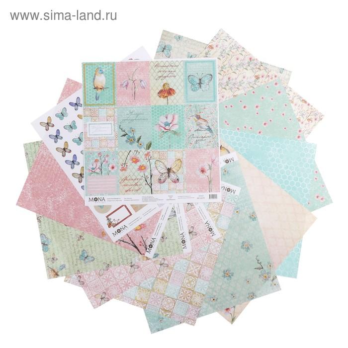 """Набор бумаги для скрапбукинга """"Цветочное бохо"""" 12 листов 30,5х30,5 см 190гр/м2"""