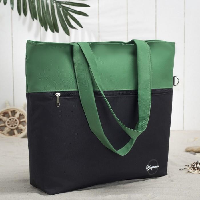 Сумка летняя, отдел на молнии, наружный карман, цвет чёрный/зелёный