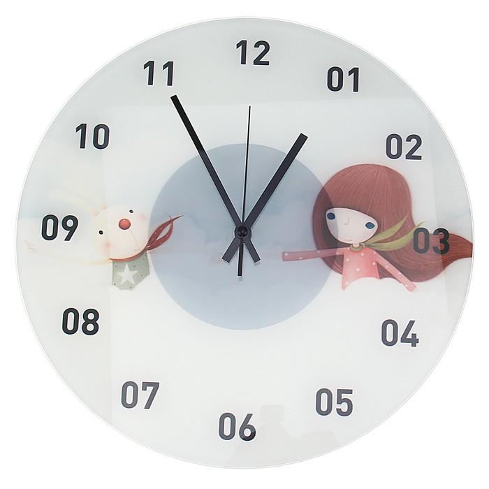 """Часы настенные из стекла """"Девочка и зайчик"""""""