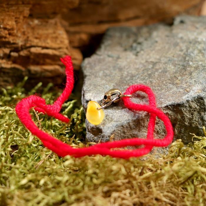 """Браслет-оберег """"Красная нить. Череп"""" с подвеской, янтарь - фото 234148902"""