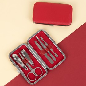 Manicure set, 6 pieces, red