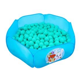 Шарики для сухого бассейна с рисунком, диаметр шара 7,5 см, набор 90 штук, цвет бирюзовый