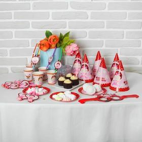 Набор для праздника «Малышка», 6 стаканов, 6 трубочек, 6 язычков, 6 тарелок, 6 колпаков, 6 очков