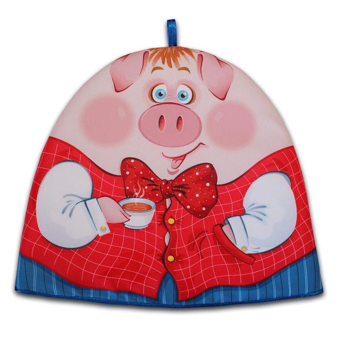 """Грелка на чайник """"Мистер Свин"""" 30х36 см, габардин,ваф.п,160 г/м2,100% хл"""