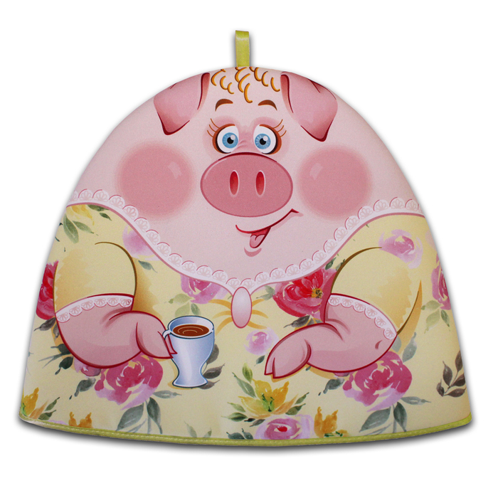 "Грелка на чайник ""Миссис Свин"" 30х36 см, габардин,ваф.п,160 г/м2,100% хл"