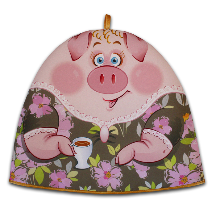 "Грелка на чайник ""Миссис Свин 2 "" 30х36 см, габардин,ваф.п,160 г/м2,100% хл"