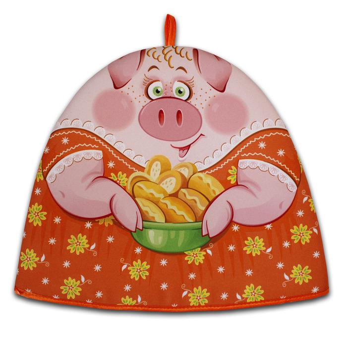 "Грелка на чайник ""Свинка Дуняша "" 30х36 см, габардин,ваф.п,160 г/м2,100% хл"
