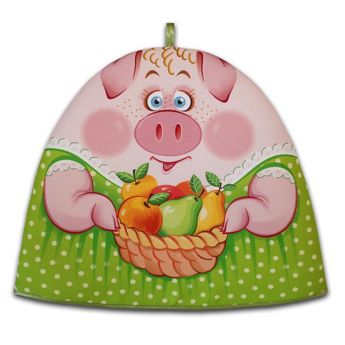 "Грелка на чайник ""Свинка Маня"" зелёный 30х36 см, габардин,ваф.п,160 г/м2,100% хл"
