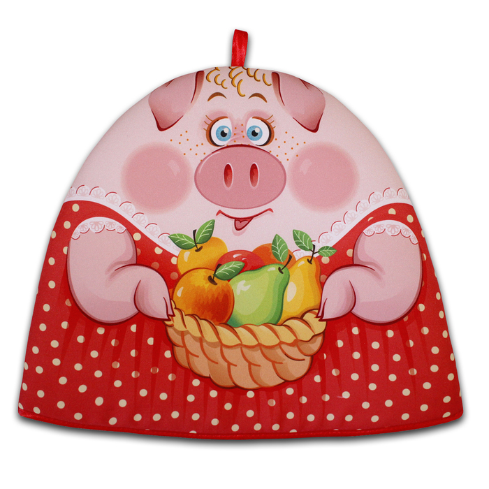 "Грелка на чайник ""Свинка Маня"" красный 30х36 см,  габардин,ваф.п,160 г/м2,100% хл"