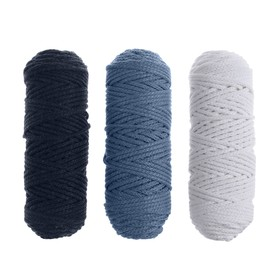 Cord for knitting 3mm 100% cotton, 50m / 85gr, 3pcs set (Set 7)