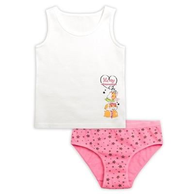 Комплект для девочки, рост 110 см, цвет молочный