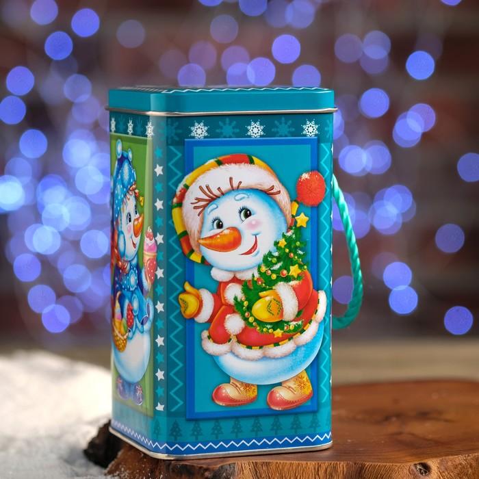 """Подарочная коробка """"Снеговики"""" с копилкой, 9 х 9 х 16,95 см"""