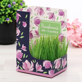 """Greeting card with growing grass """"Blossom of happiness"""""""