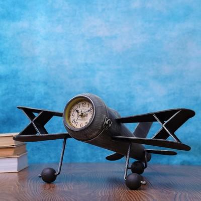 """Часы настольные """"Старый самолёт"""", серые, 44х41х19 см"""