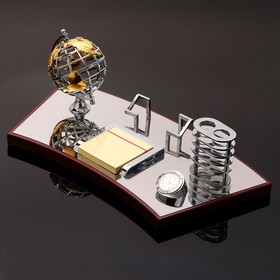 5 in 1 table set (globe, business card holder, d block / paper, pencil, watch), 19x40 cm.