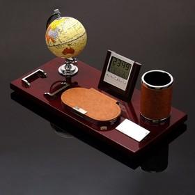 Набор настольный 6в1 (глобус, часы, скрепочница, карандащница, блок д/бумаги, лого),