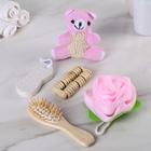 Набор банный, 5 предметов: 2 мочалки, массажёр, расчёска, пемза, цвет МИКС