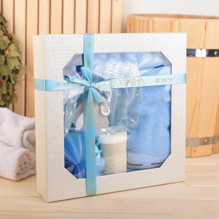 Набор банный 6 предметов: 3 мочалки, полотенце, пемза,шапочка для душа, цвет МИКС